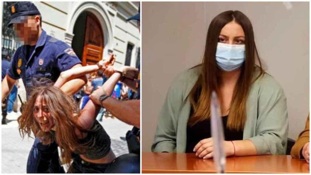 María, durante su detención en el 15-M y en su declaración en el juzgado. EE/EFE
