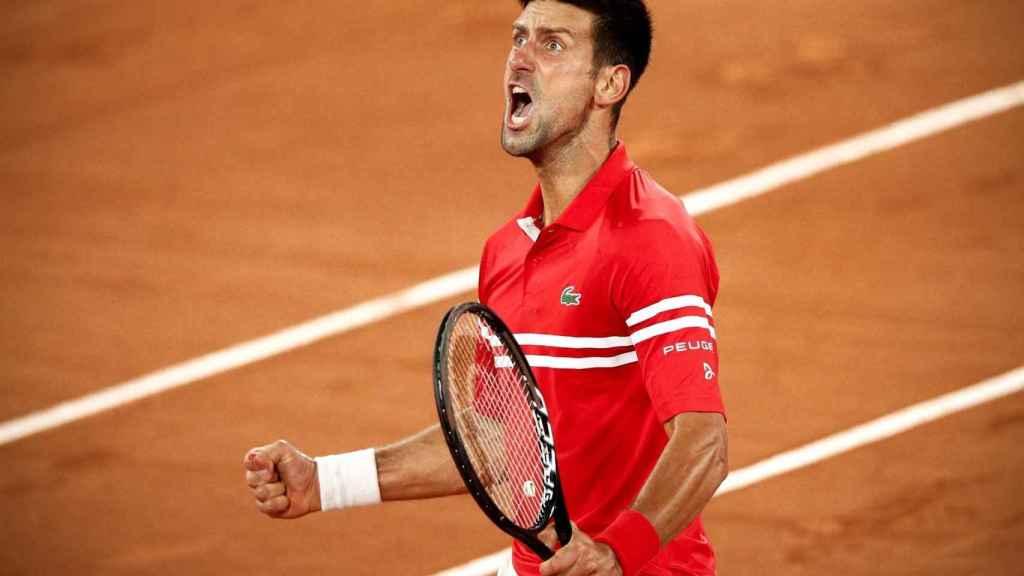 Djokovic, celebrando su pase a las semifinales de Roland Garros.