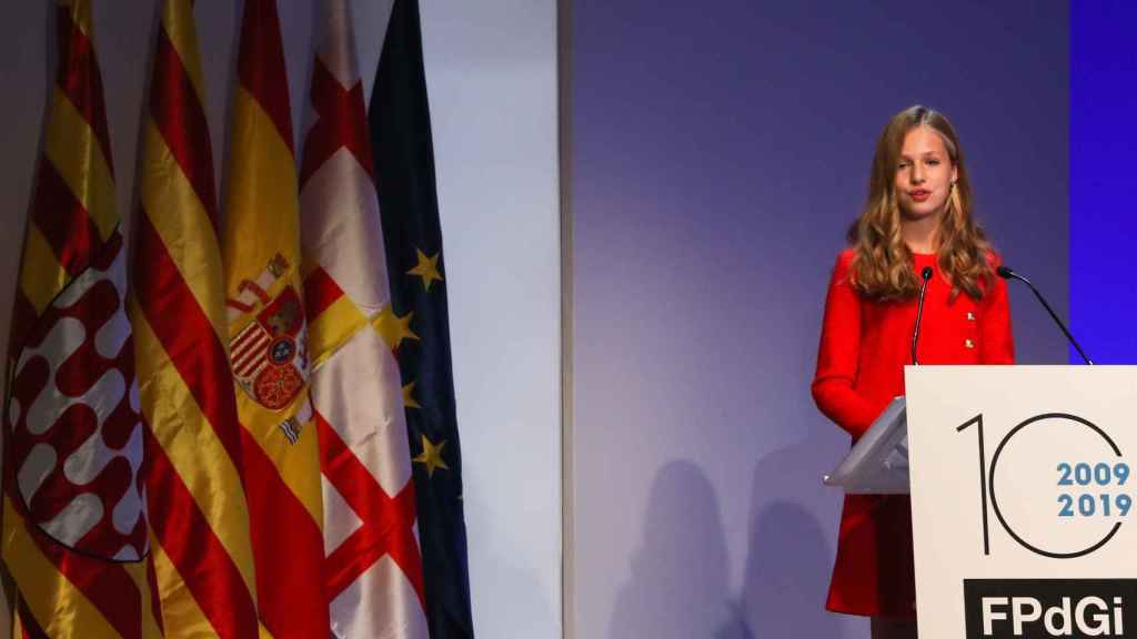 Leonor pronunciando su discurso en los Premios Princesa de Girona 2019.