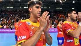Antonio Serradilla, en un partido con la selección española de balonmano
