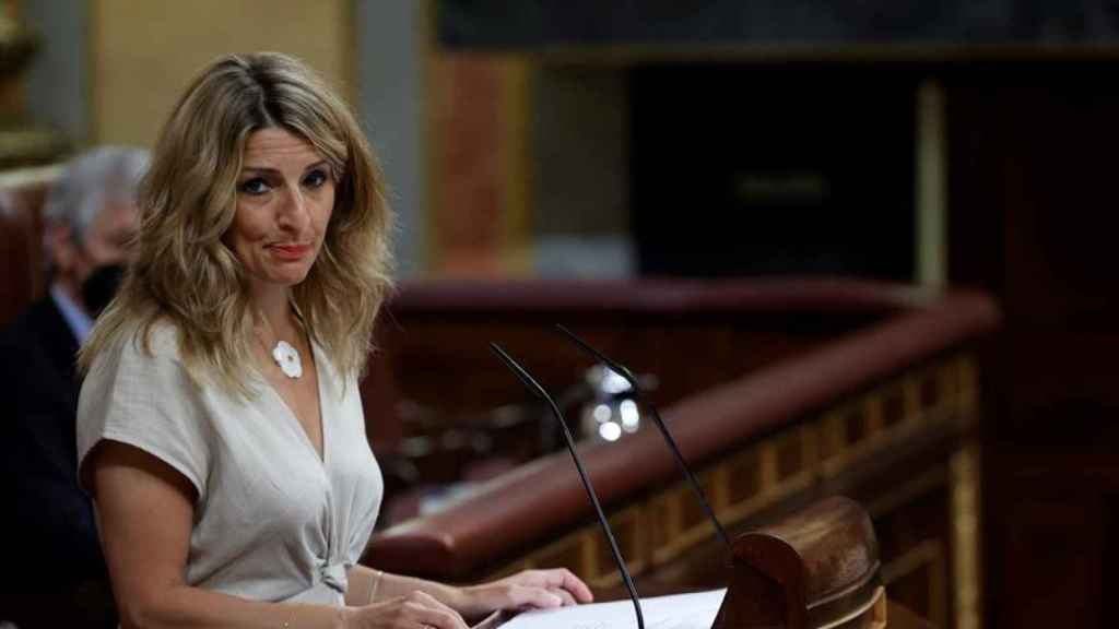La ministra de Trabajo y Economía Social, Yolanda Díaz, este jueves en el Congreso.