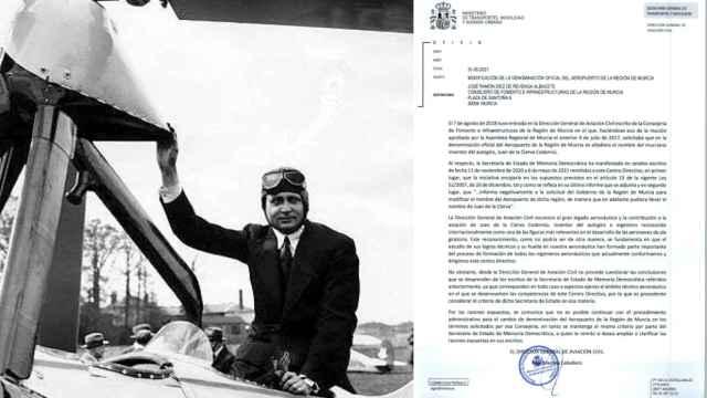 El ingeniero del autogiro, Juan de la Cierva, junto al oficio del Ministerio.
