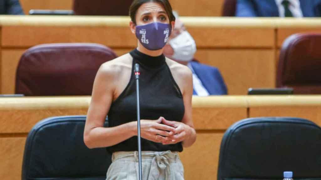 Irene Montero durante la sesión de control al Gobierno en el Senado, el pasado martes.