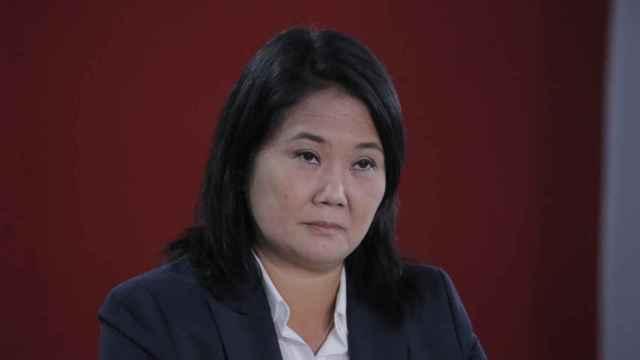 Keiko Fujimori en una rueda de prensa en Perú.