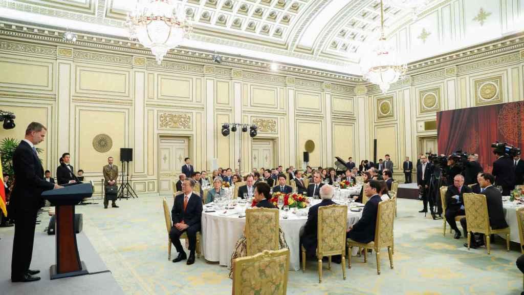 La cena de gala en honor a los Reyes en Corea del Sur en octubre de 2019.