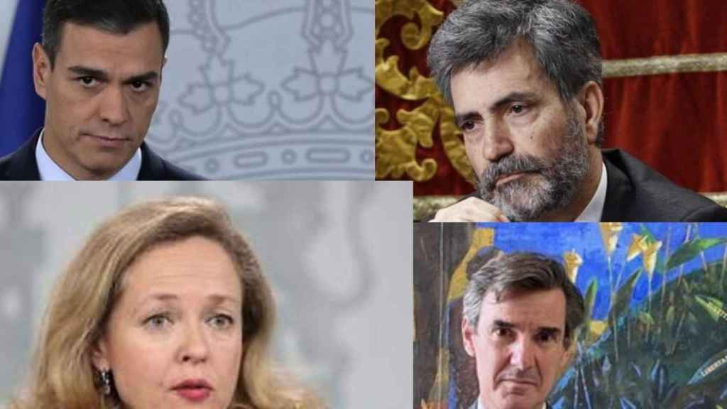 Pedro Sánchez, Carlos Lesmes, Nadia Calviño y Carlos San Basilio.