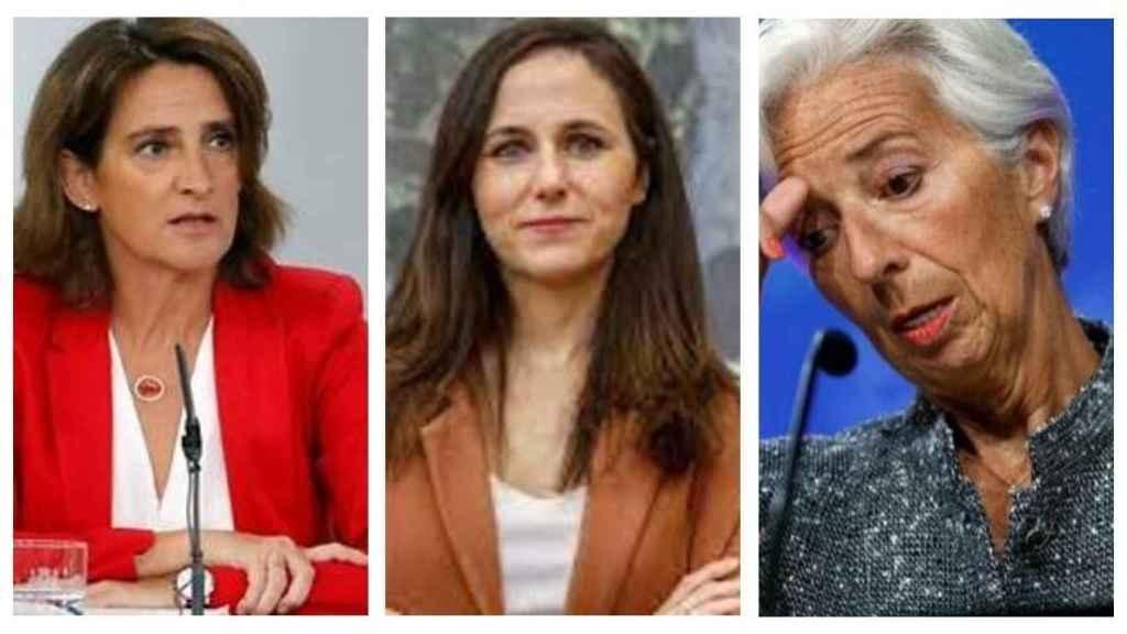 Teresa Ribera, Ione Belarra y Christine Lagarde.