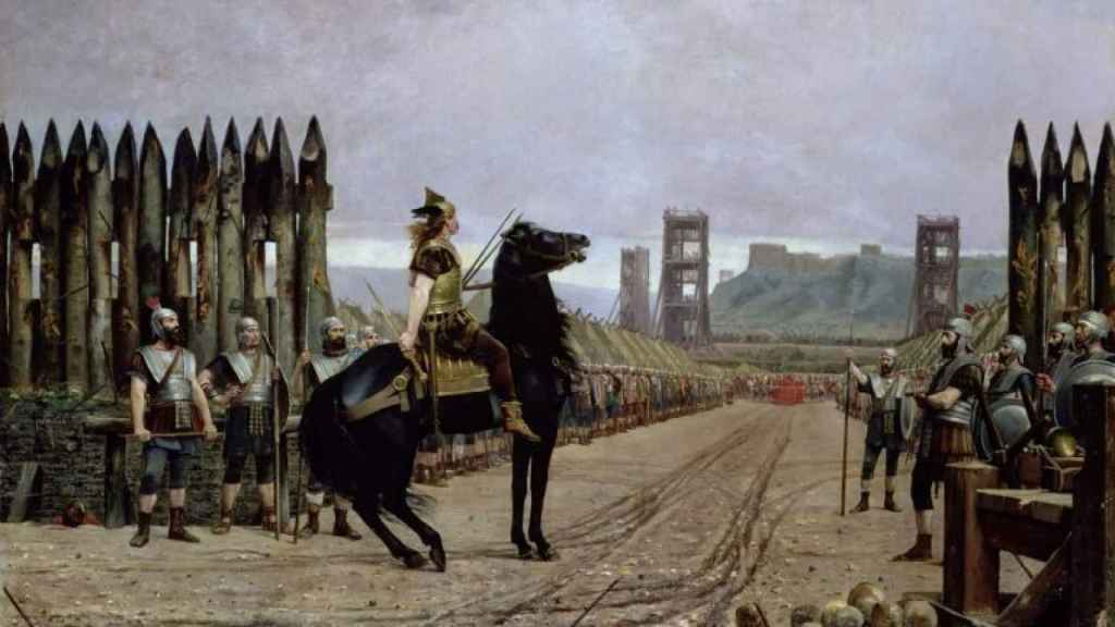 Otra representación de Vercingétorix rindiéndose ante César. Por Henri-Paul Motte.