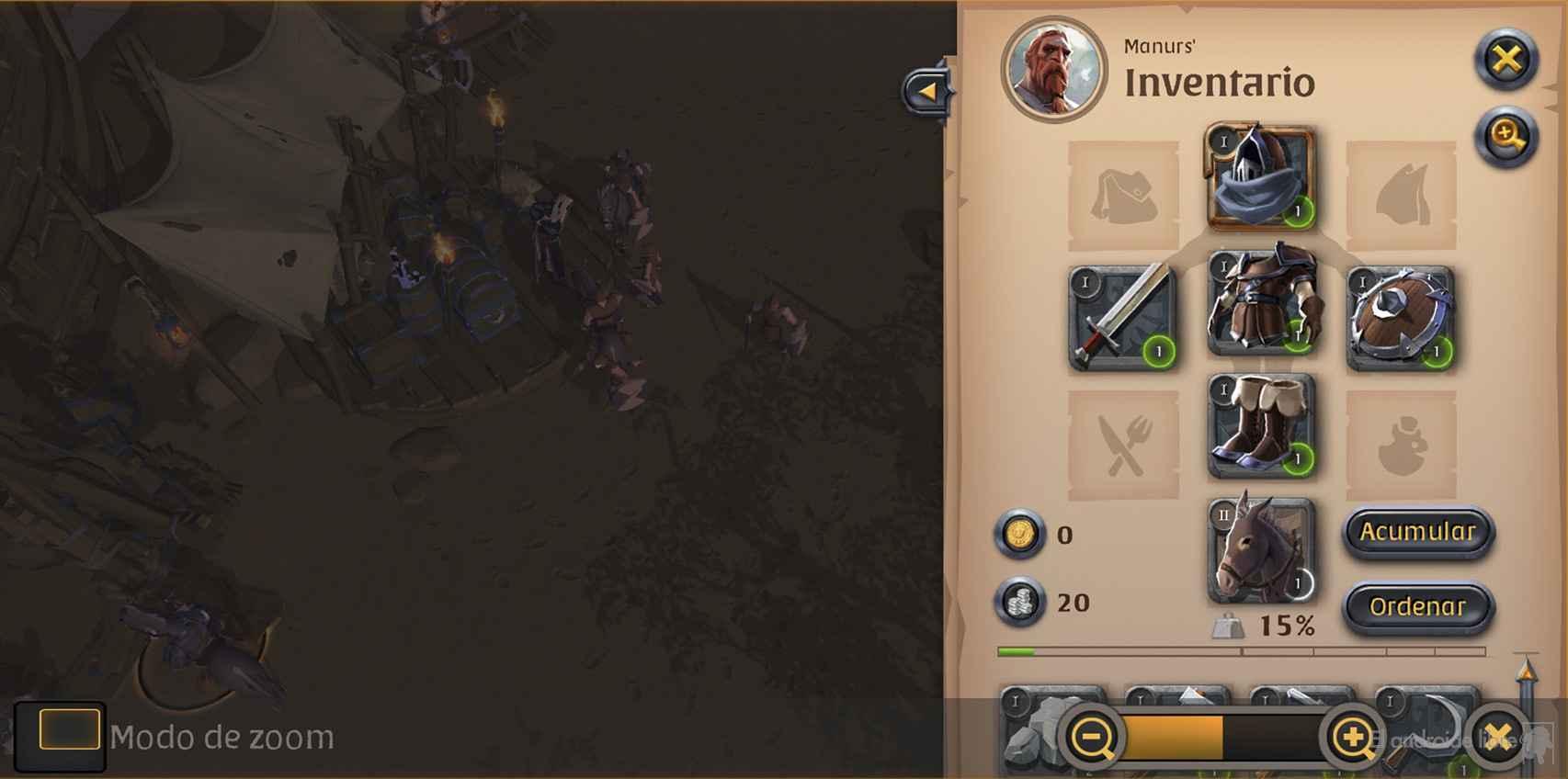 El inventario de personaje en Albion Online