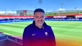Javier García Pimienta con la equipación del Barça
