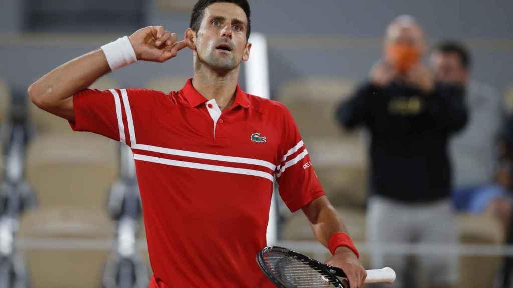 Djokovic, durante el partido ante Nadal en Roland Garros.