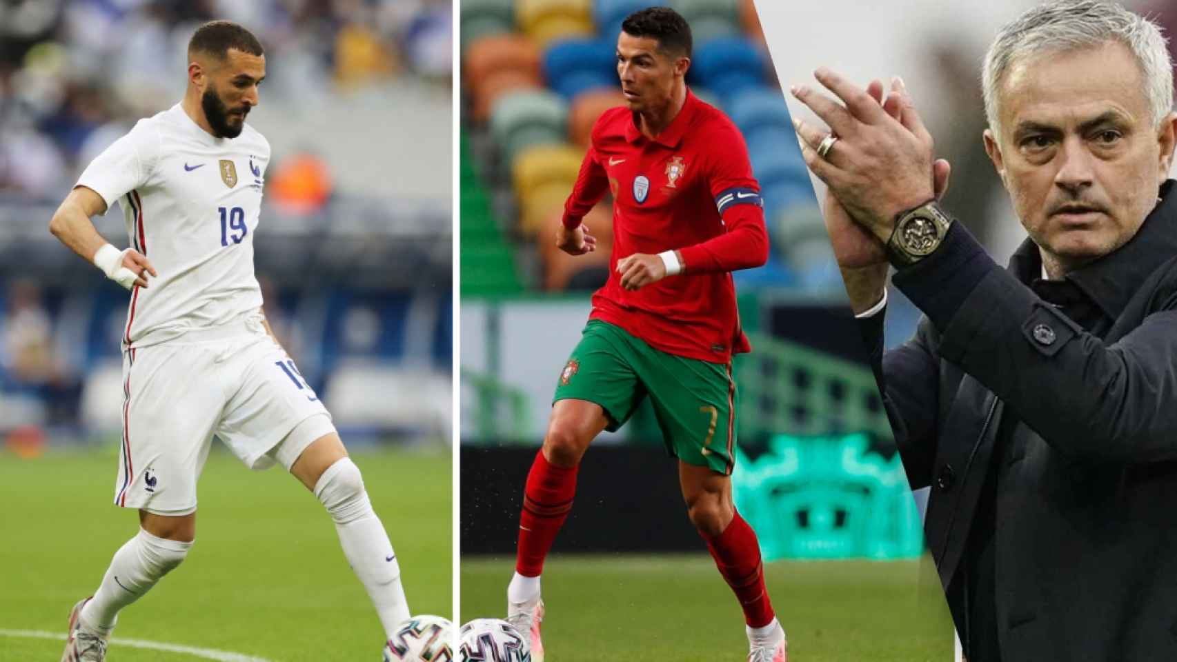 Mourinho, Benzema y Cristiano
