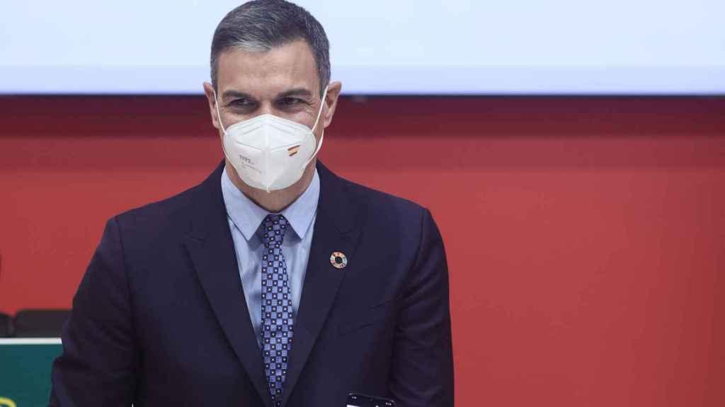 Pedro Sánchez en una foto de archivo durante la presentación del certificado verde digital en FITUR 2021