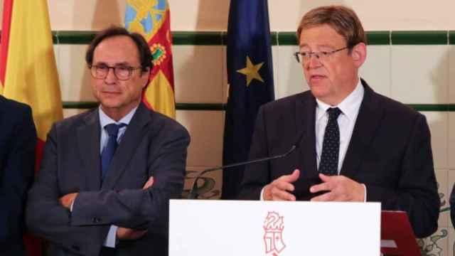 Vicent Soler, 'conseller' de Hacienda, y Ximo Puig, presidente de la Generalitat Valenciana. EE