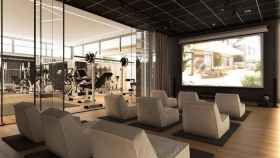 La sala de cine, junto al gimnasio, de la promoción Escalonia III de Aedas Homes en Las Rozas.