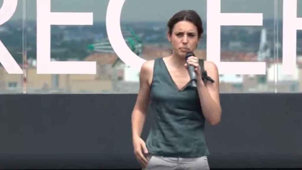 La ministra de Igualdad, Irene Montero, este viernes en un acto de Podemos en Zaragoza.