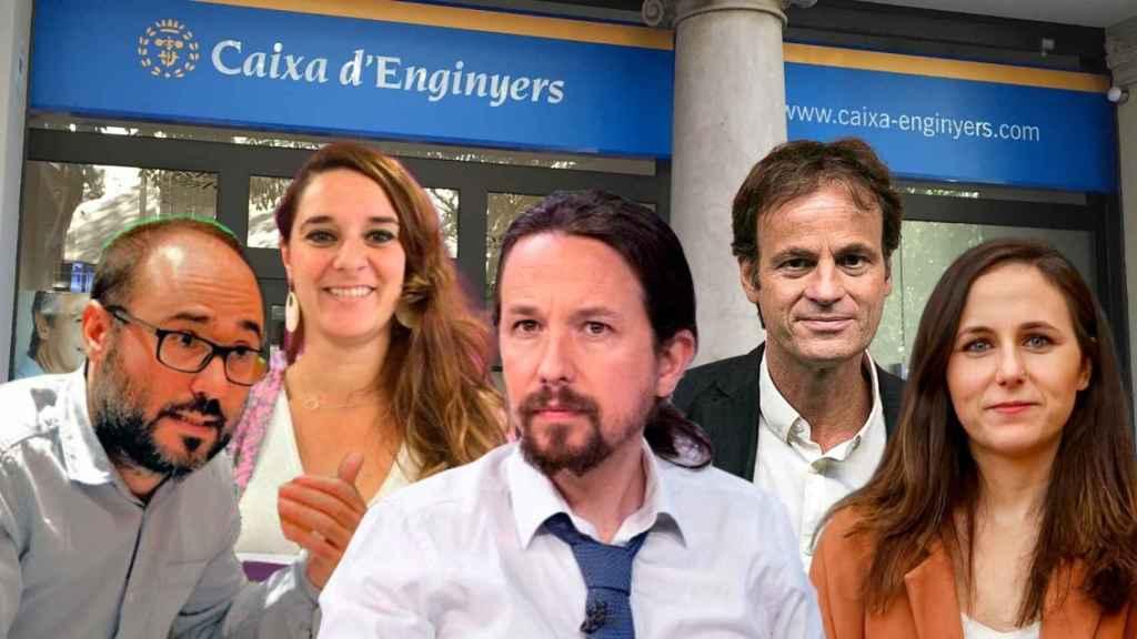 De izquierda a derecha: Daniel de Frutos, Noelia Vera, Pablo Iglesias, Jaume Asens e Ione Belarra.