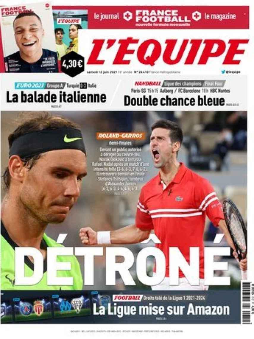La portada del diario L'Équipe (12/06/2021)