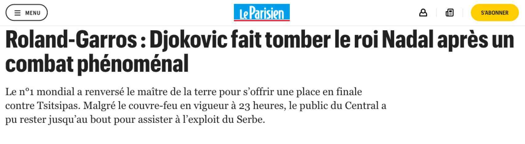 Le Parisien, sobre la derrota de Nadal en Roland Garros