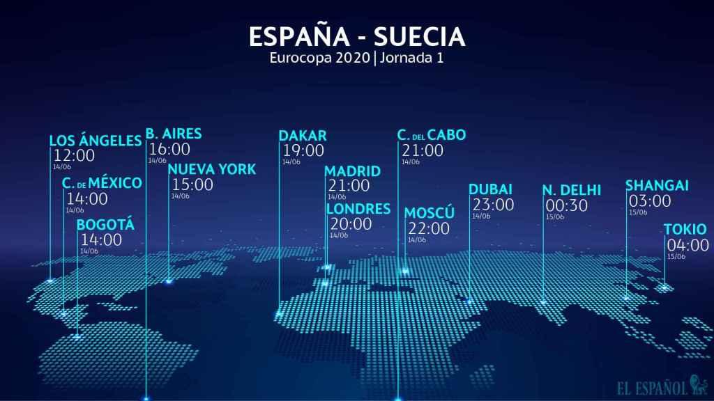 Horario internacional España - Suecia