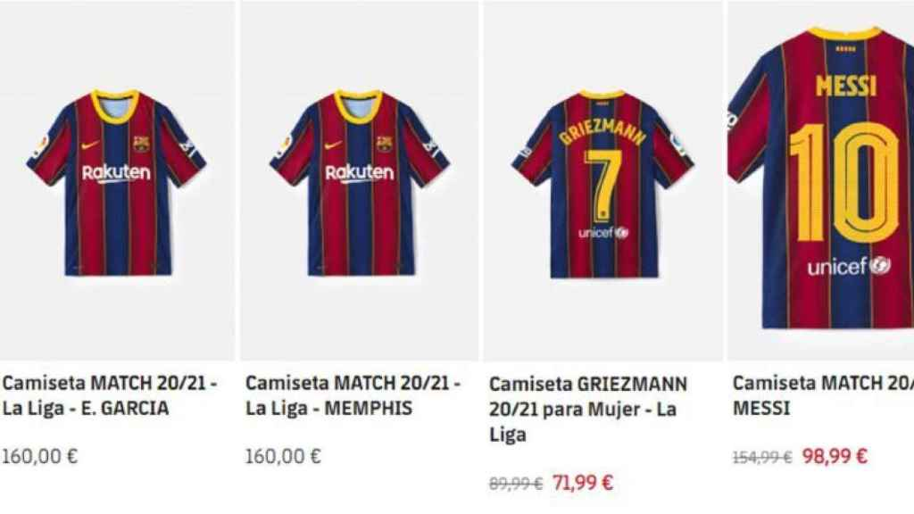 La camiseta de Memphis Depay, a la venta en la web del Barça