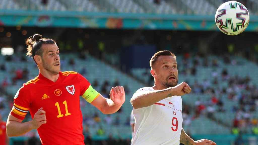 Bale, durante el Gales - Suiza de la Eurocopa