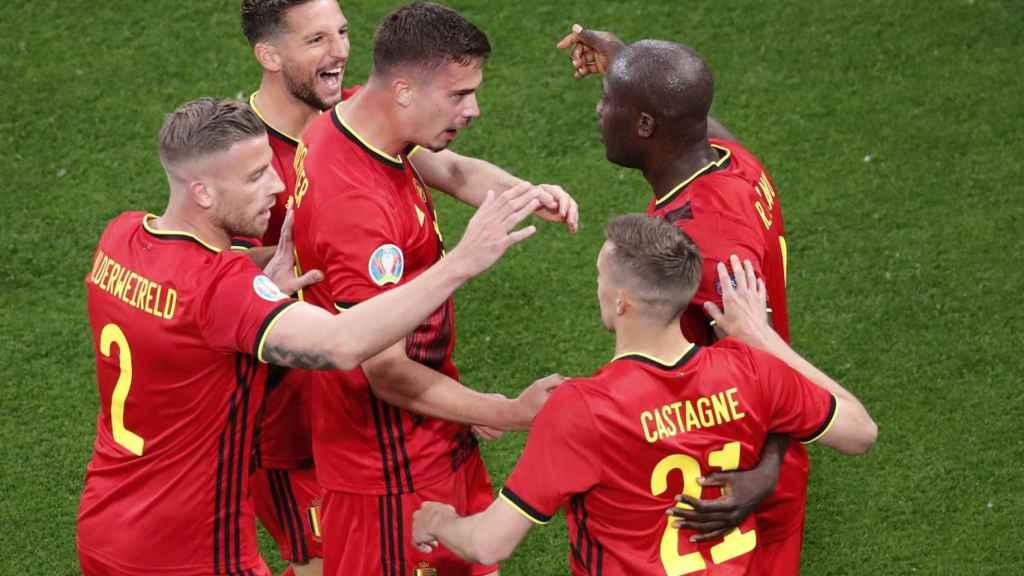 Bélgica celebra el gol de Lukaku ante Rusia