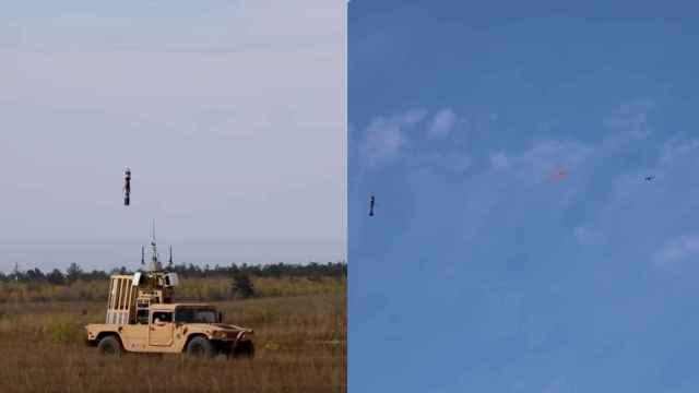 Ejército EEUU disparando serpentinas contra drones