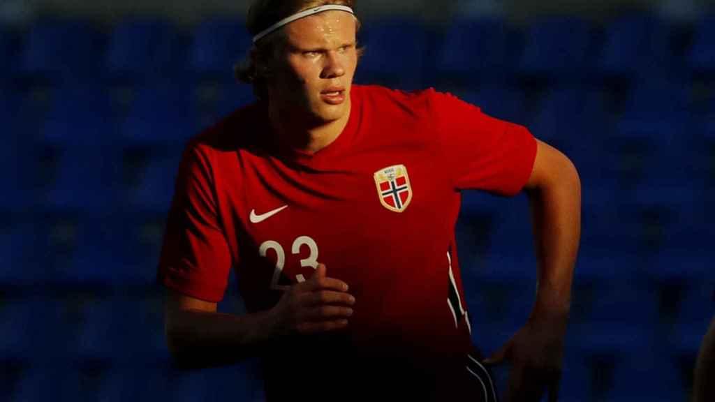 Erling Haaland, durante un partido con Noruega