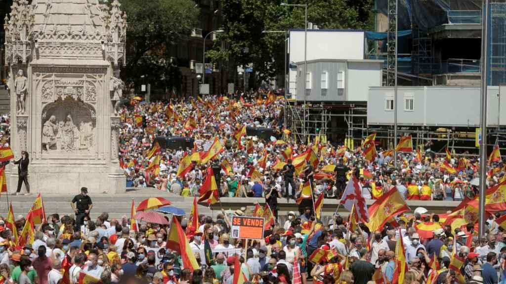 Manifestación en la Plaza de Colón contra los indultos el pasado domingo 13 de junio.