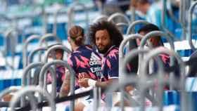 Marcelo, en el banquillo durante un partido del Real Madrid