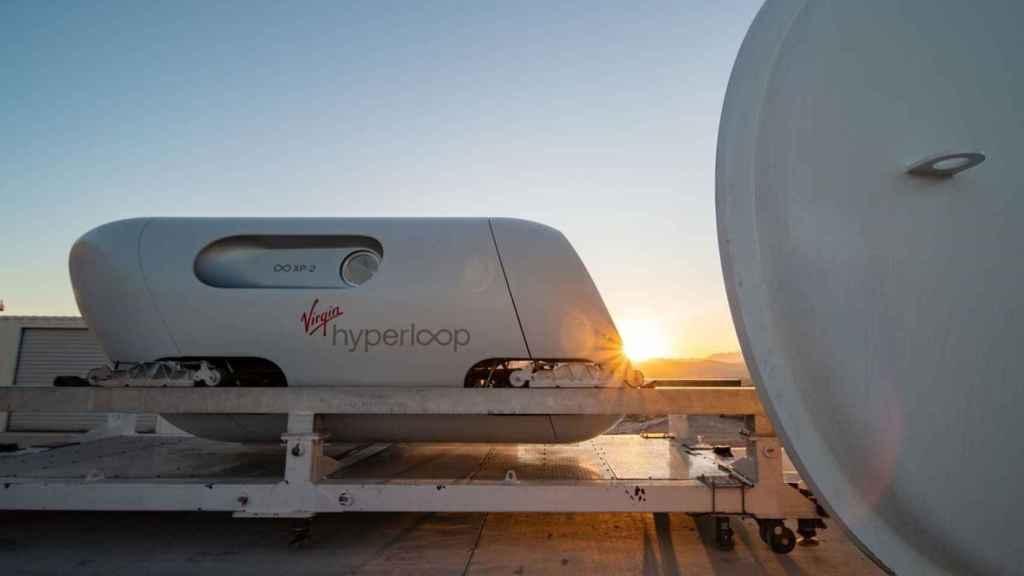 La ápsula XP-2 de Virgin Hyperloop, empleada en las pruebas con pasajeros en Las Vegas en 2020.