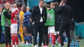 El seleccionador de Dinamarca, Kasper Hjulmand, destrozado