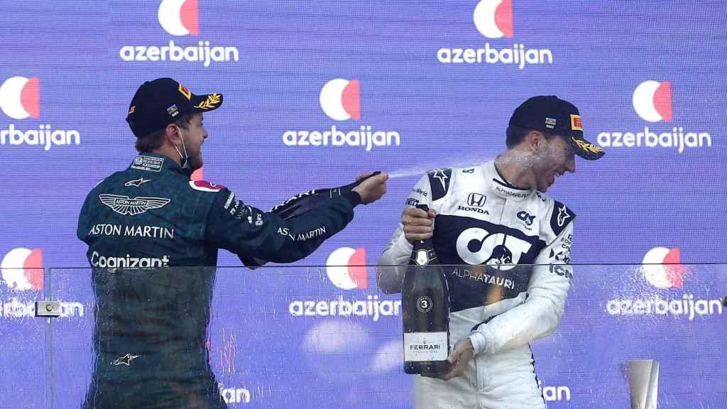 Vettel y Gasly celebran su éxito en el Gran Premio de Azerbaiyán