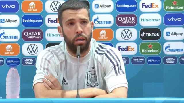 Jordi Alba, en rueda de prensa de la selección española