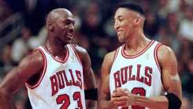 Michael Jordan y Scottie Pippen, en un partido de los Chicago Bulls
