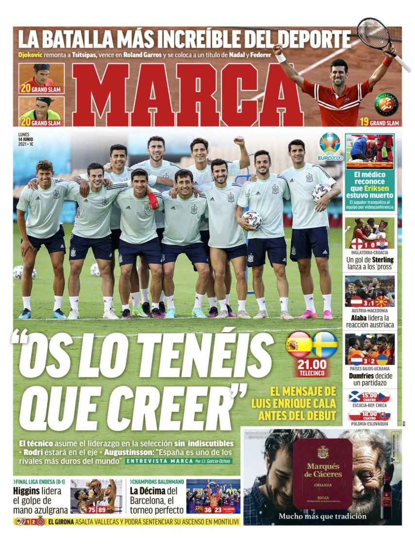 La portada del diario MARCA (14/06/2021)