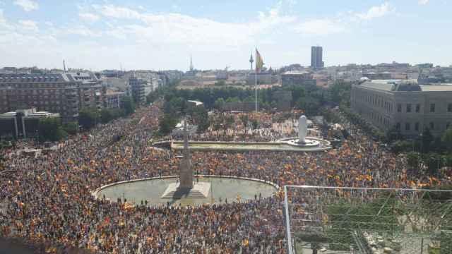 La manifestación de Colón contra los indultos, en imágenes