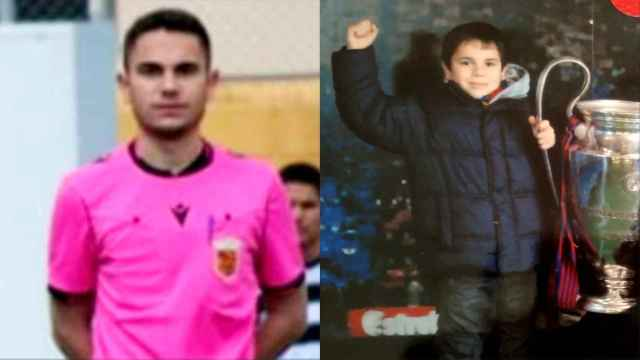 Fernando, vestido de árbitro, junto a una imagen suya, de niño, con una Copa de Europa del Barcelona.