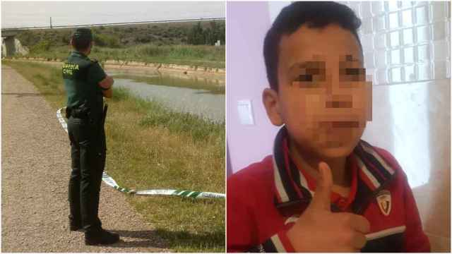 Un guardia civil en la zona donde ha sido encontrado el cuerpo y una foto del menor difundida por su familia.