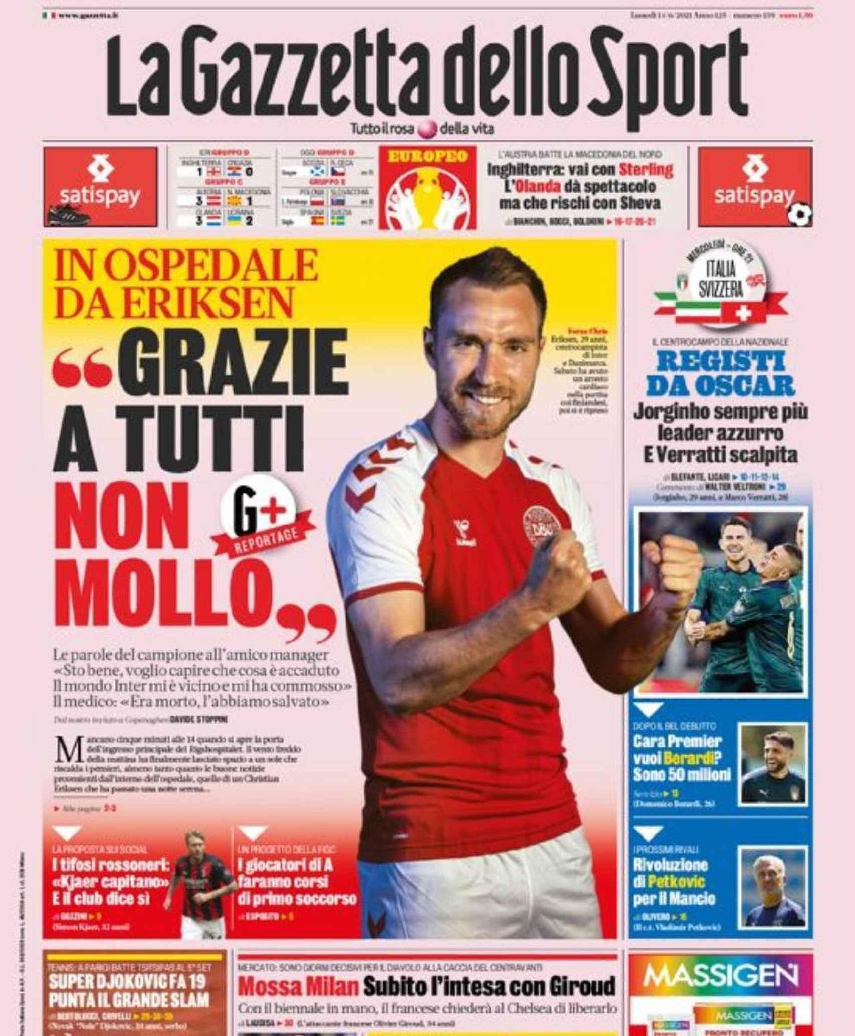 La portada del diario La Gazzetta dello Sport (14/06/2021)