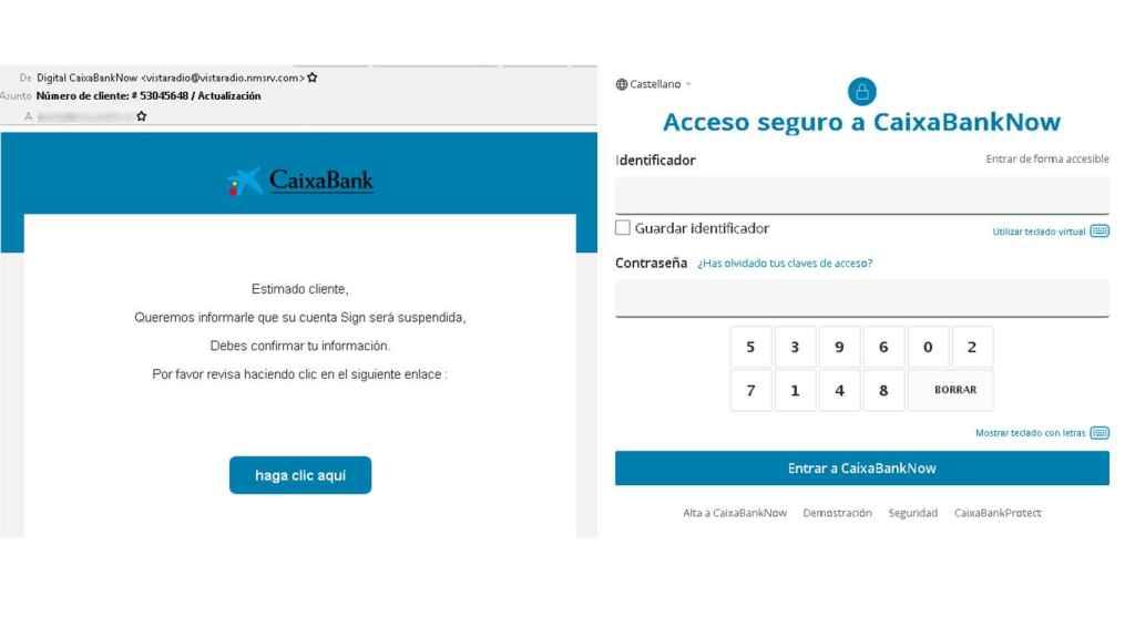 Ejemplos de phishing de CaixaBank