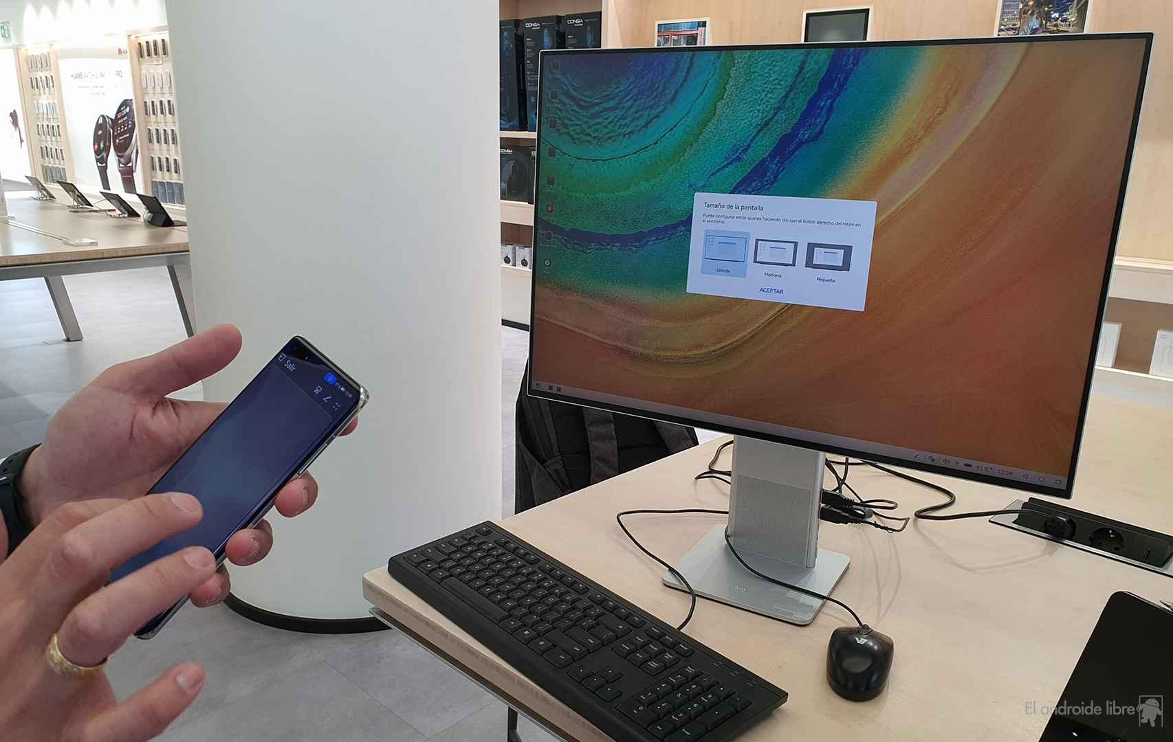 Selección de modo dispositivo en pantalla con HarmonyOS