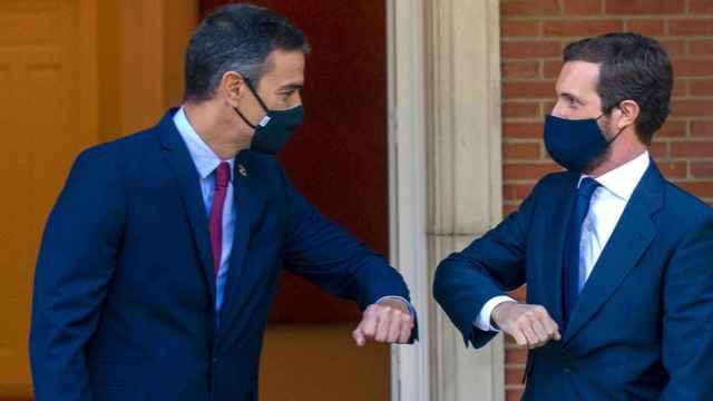 Pedro Sánchez y Pablo Casado, durante uno de sus últimos encuentros en Moncloa. EFE