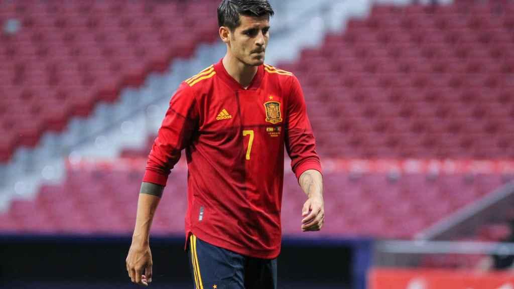 Álvaro Morata, durante el amistoso de España frente a Portugal
