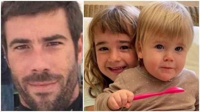 Tomás Gimeno y las niñas Olivia y Anna.