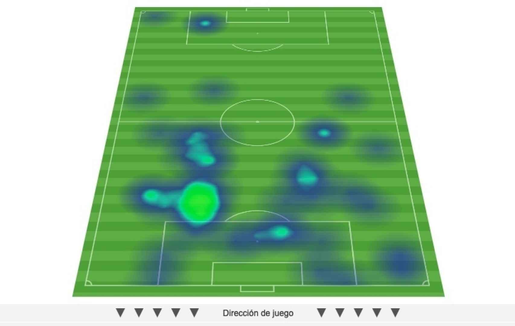 El mapa de calor de Álvaro Morata durante el partido frente a Suecia