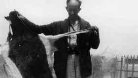 Luis Lozano Rey con una piel de 'Gazella dama lozanoi'