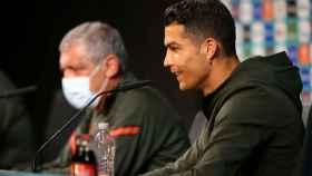 Cristiano Ronaldo, durante la rueda de prensa de Portugal antes de su estreno en la Eurocopa