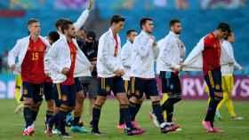 Los jugadores de la selección española antes del España - Suecia